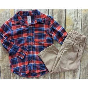 Nwt Carter's Plaid Top and khakis